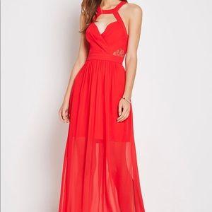 BCBG red lace trim evening dress